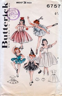 1960 Girls' Ballerina, Fairy and May Queen Costumes - Butterick 6757 Vintage Sewing Pattern Size 6-8