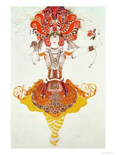 """Ballet Costume for """"The Firebird,"""" by Stravinsky Giclee Print by Leon Bakst at Art.com"""