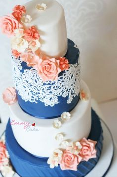 44 Striking Peach And Navy Wedding Ideas   HappyWedd.com  I like it without the patter in the navy blue.