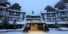 Vacanta ski Kopaonik - Hotel Family Angella 4* - Serbia Facade Architecture, Winter Season, Trip Advisor, Skiing, Mansions, Landscape, House Styles, Places, Home