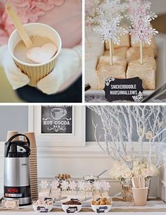 Hot Cocoa Bar + Other Fun Desserts at a Rustic Winter Wonderland Party Winter Birthday Parties, Winter Parties, Christmas Parties, Tea Parties, Christmas Treats, Party Deco, Snowflake Party, Winter Wonderland Birthday, Hot Cocoa Bar