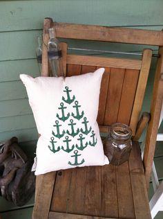 Anchor Christmas Tree Pillow || canvas pillow || red nautical ticking coastal christmas nautical christmas (32.00 USD) by Seagate8Studio