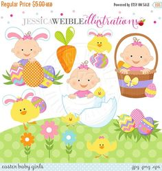 SALE Easter Baby Girl Cute Digital Clipart, Easter Baby Clipart - Easter Clip art, Easter Graphics, Baby in Easter Basket, Easter Egg Clip a