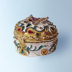 3D Yellow Pink Butterfly Box Swarovski Crystals w/ Velvet Jewelry or Figurine