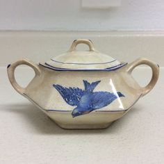 Vintage Blue Bird Pattern Ceramic Sugar Bowl w Lid  #HRWilley
