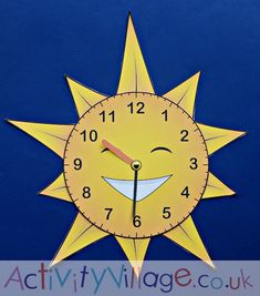 Sun teaching clock from Activity Village Teaching Clock, Activity Village, Home Learning, Telling Time, Math Resources, Colouring Pages, Arts And Crafts, Sun, Activities