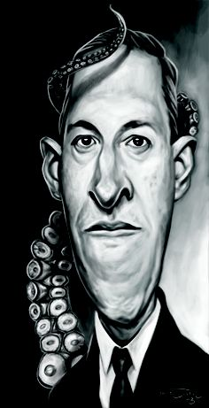 Caricature of one of my all time favourite writer Howard Phillips Lovecraft (The Mountains of Madness, The Call of Cthulhu. Lovecraft Cthulhu, Hp Lovecraft, Mountains Of Madness, Yog Sothoth, Horror Fiction, Call Of Cthulhu, Dere, Pulp Magazine, Real Hero