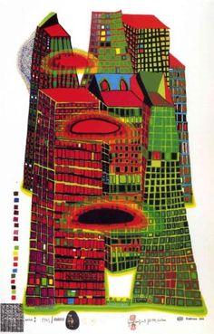 686 Good Morning City, Silkscreen by Friedensreich Hundertwasser (1928-2000, Austria)