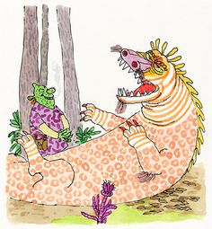 SHREK! illustration copyright 1990 by William Steig. Used by permission of Farrar, Straus and Giroux, LLC Collection of The Eric Carle Museum of Picture Book Art.