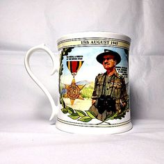 1995 Aynsley china mug exclusively commissioned for Peter Jones China of Wakefield. It commemorates the 50th anniversary of VJ Day.