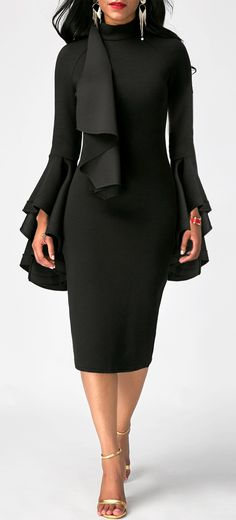 Classy is elegance   Black Flare Sleeve High Neck Skinny Dress #littleblackdress