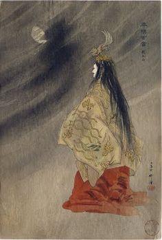 Sesshōseki 殺生石 no. 13 from the series Nōgaku hyakuban by Tsukioka Kogyo, 1926 - Japanese woodblock print -The Lavenberg Collection of Japanese Prints