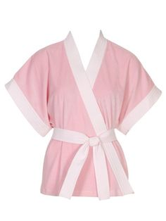 burda style, Schnittmuster - Kuschelwicher, hüftlanger Kimono aus Nicki mit weißen Blenden aus Pikee und Bindegürtel. Nr. 121 A aus 06-2011