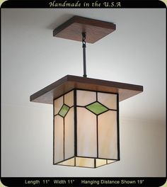 """Mission style lamp from Mission Studio. """"The Antique Style Mission lanterns are… Craftsman Lighting, How To Make Lanterns, Stained Glass Lamps, Hanging Lanterns, Craftsman Style, Colored Glass, Decoration, Chandeliers, Light Fixtures"""