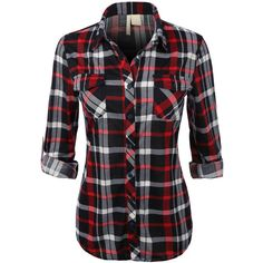 Womens Lightweight Plaid Button Down Shirt with Roll Up Sleeves (21 CHF) ❤ liked on Polyvore featuring tops, shirts, plaid, long sleeves, blusa, lightweight long sleeve shirt, plaid button down shirt, plaid button up shirts, long sleeve plaid shirts and button up tops