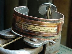 Quote cuff bracelet Determination Purpose Inspirational mixed media jewelry