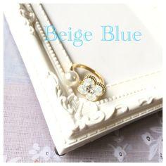 キラキラお花パールリング (スワロ、グルーデコ) by Beige Blue アクセサリー 指輪・リング