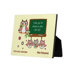 Fun Owl Design Thank You Teacher /  Teacher Appreciation Day /  Teacher Appreciation Week / Graduation Gift Plaque for Teachers with a customizable Teacher's name and text. Matching cards, postage stamps and other products available in the artofmairin store at zazzle.com