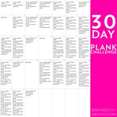 Maybe after I master the regular one I'm doing now, I will try this 30 Day Plank Challenge...