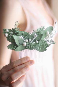 eucalyptus Hair comb greenery Bridal hair vine boho green