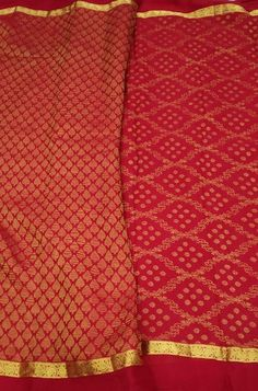Red Handloom Mysore Crepe S... Red Fabric, Silk Fabric, Woven Fabric, Crepe Silk Sarees, Silk Crepe, Mysore Silk Saree, Color Schemes, Lady, Clothes