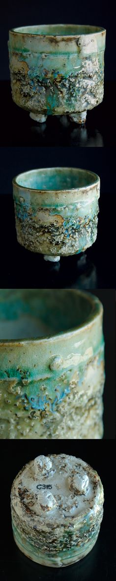 Cup Brasna - Glass frit combines with a Oribe green glaze to make a really interesting surface on this bowl / cup. Areas of blue, turquoise and white run down over a distressed surface from organics burned out in the firing process. Inside is a milky white glaze with turquoise running from upper edge. Signature stamp and numbered on the bottom H 3.5 inches W 3.75 inches Weight 10.6 ounces Holds 1 cup comfortably #adamwhatley