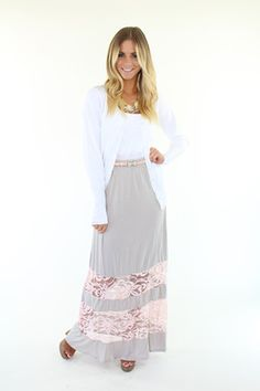 Grey and Blush-Laced Maxi Skirt - Lime Lush Boutique