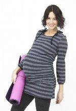 Egg Maternity Mini Tee Dress in grey stripe