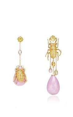 18K Gold Sweet And Sower Earrings With Beryls And Phosphosiderites by Lydia Courteille for Preorder on Moda Operandi