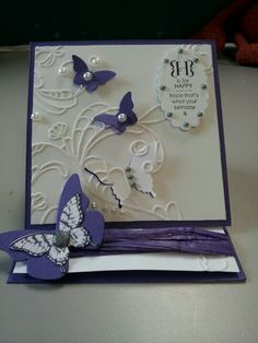 Butterflies and elegant lines embossing folder with occasions alphabet sentiment easel card
