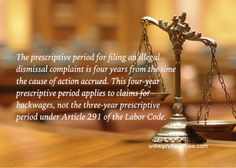 Prescriptive Period For Filing A Complaint For Illegal Dismissal | Prohealthlaw