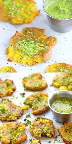 Garlic Pesto Smashed Potatoes – the best potatoes recipe ever with smashed baby potatoes topped with delicious garlic pesto. So delicious, get the full recipe. Best Potato Recipe Ever, Best Potato Recipes, Baby Recipes, Vegetarian Recipes, Cooking Recipes, Healthy Recipes, Bread Recipes, Healthy Foods, Chicken Recipes