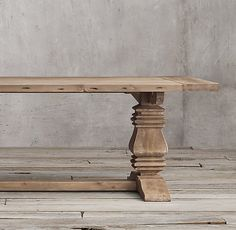 """Salvaged Wood Trestle Rectangular Extension Dining Table -- 84""""-120""""L x 42""""W x 30""""H; with two 18"""" leaves; 282 lbs."""