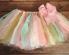 Light Pink Ivory Mint and Gold Scrap Fabric by ScrapHappyTutus