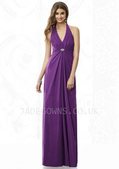 Chiffon Halter Neckline Sheath Sleeveless Floor-length Purple Bridesmaid Dresses - 6108007 - Bridesmaid Dresses