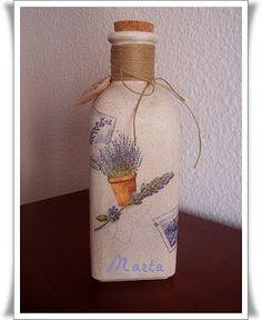 Botella con decoupage y caja para fotos