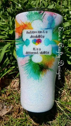 Autism Is A Different Ability Tumbler Mom Tumbler, Tumbler Cups, Tumbler Stuff, Puzzle Pieces, Vinyl Tumblers, Custom Tumblers, Glitter Cups, Glitter Tumblers, Vases