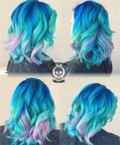 Mermaid hair color by Rickey Zito blue hair turquoise hair pink hair unicorn hair rainbow hair Turquoise Hair Color, Hair Color Pink, Cool Hair Color, Blue And Pink Hair, White Hair, Unicorn Hair Color, Mermaid Hair Colors, Blue Mermaid Hair, Love Hair