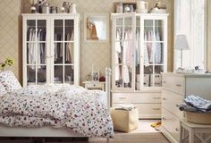 inspired by Ikea...love the creative use of armoires as closets.  Great placement for a small room.