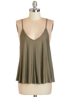 Lounging in Loveliness Top. Spend a sweet day on the sofa in this lightweight olive tank! #gold #prom #modcloth
