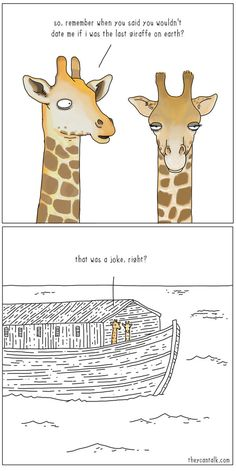 The last giraffe to date on Noah's ark. -- SDA, Seventh Day Adventist, funny meme, Christian humor, bible story comic humor The last giraffe on earth Funny Christian Memes, Christian Humor, Christian Dating, Christian Comics, Funny Jokes, 9gag Funny, Funny Men, Funny Cartoons, Hilarious Stuff