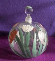 1920s H U G E  Art Deco DELVAUX FRENCH glass perfume bottle ENAMEL FIGURAL TULIP