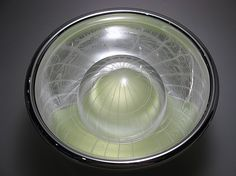 "Jackie Pancari Reflective series: Double Dome   blown glass  6.75"" x 10.25"" dia"