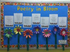 Spring Poetry Board Poetry Lesson Plans, Poetry Lessons, Writing Lessons, School Library Displays, Classroom Displays, Classroom Decor, Literacy Display, Classroom Walls, Kindergarten Classroom