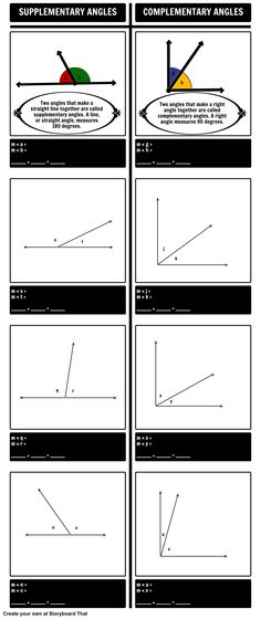 Our Supplementary and Complementary Angles Storyboard using our T-Chart layout! Learning Angles with graphic organizers are a great visual learning tool. Take a look at our full lesson plan here: https://www.pinterest.com/storyboardthat/introducing-angles/