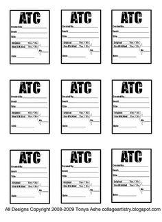 atc trading card template 001 atc pinterest