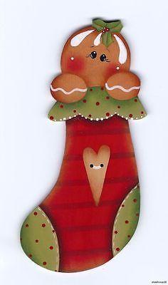 CHRISTMAS GINGERBREAD STOCKING CLIP ART
