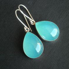 Aqua tear drop earrings - aqua blue chalcedony dangle hook earrings $95.00