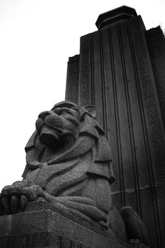 Two Art Deco Lions sit on either side of the Lions Gate Bridge on the Vancouver side.
