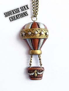 Steampunk Hot Air Balloon Pendant Made of by SiouxsieSixxCreation